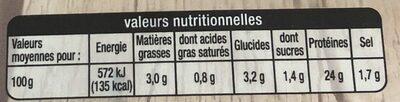 Demi-filets de Poulet à la Provençale - Voedingswaarden - fr