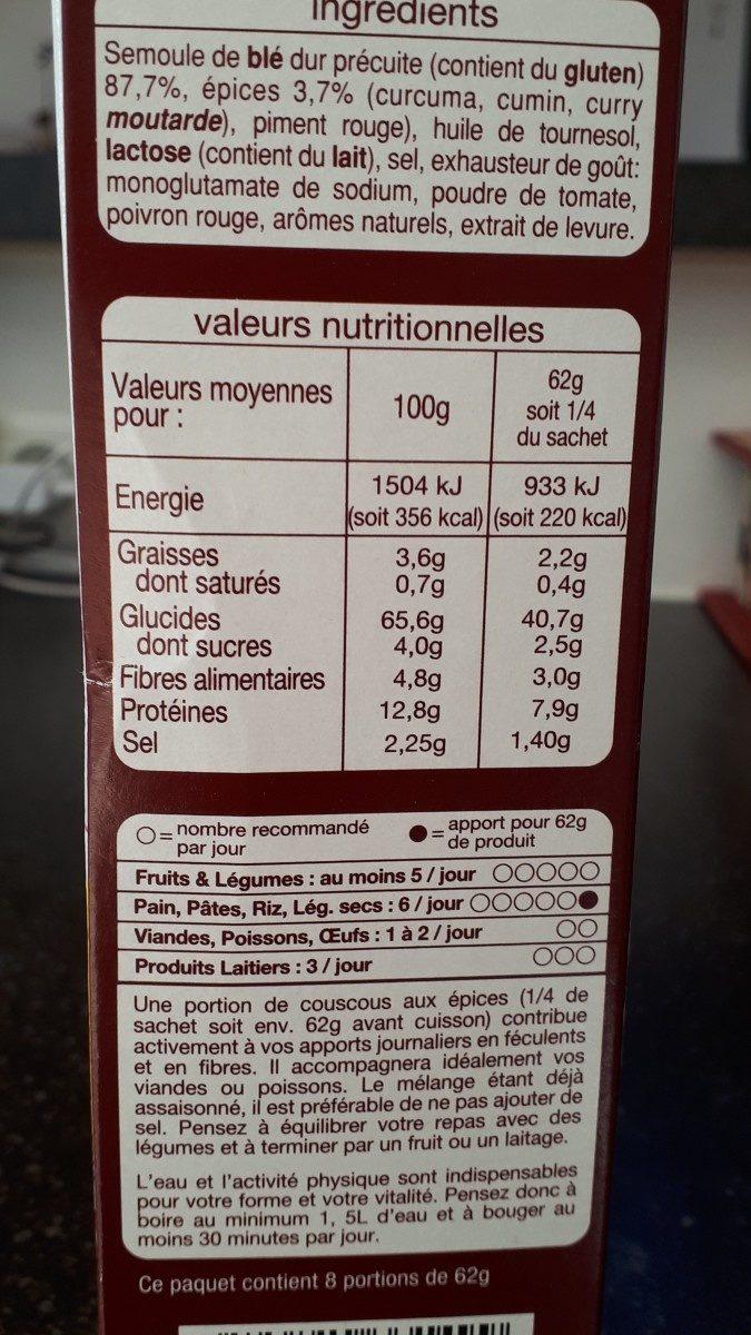 Couscous parfumé aux épices - Ingrediënten - fr