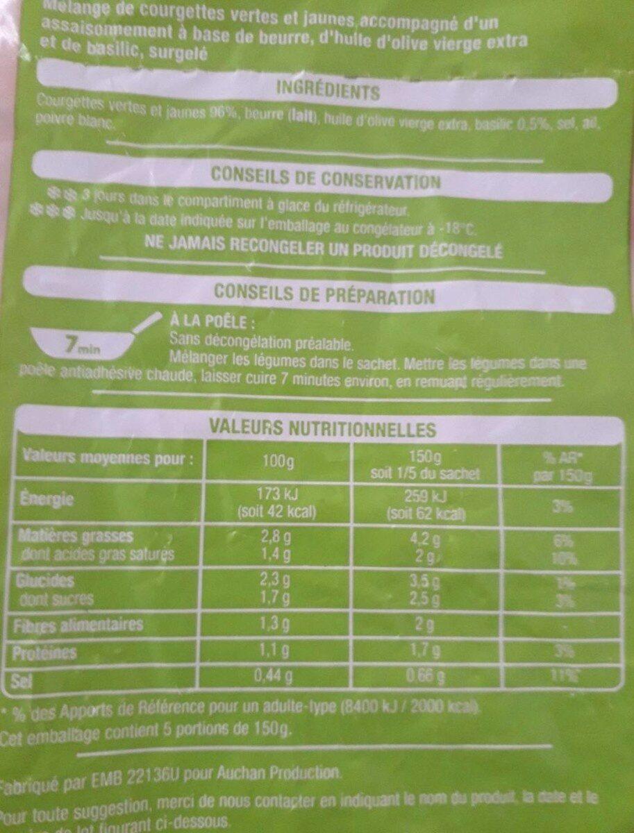 Duo de courgettes les poêlées - Informations nutritionnelles - fr
