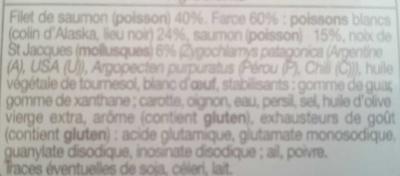 Paupiette de saumon farcie de poissons blancs et de noix - Ingrédients - fr