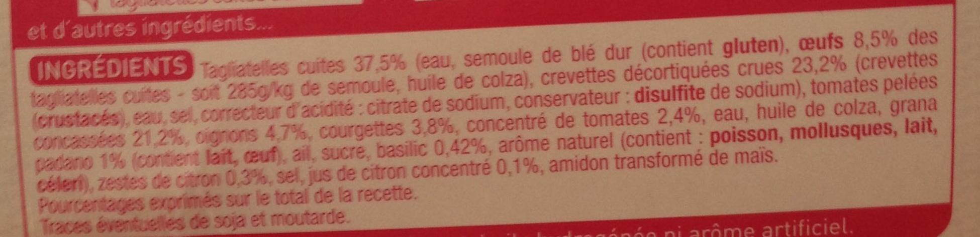 Crevettes aux petits légumes et tagliatelles (2,4 % MG) - Ingrédients - fr