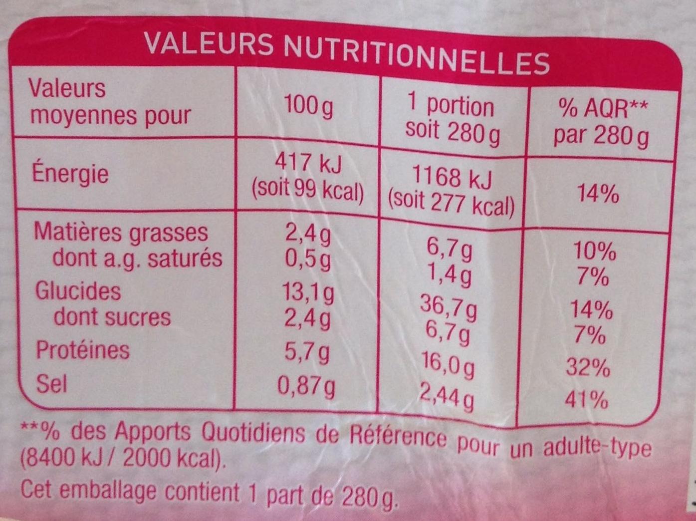 Crevettes aux petits légumes et tagliatelles (2,4 % MG) - Informations nutritionnelles - fr