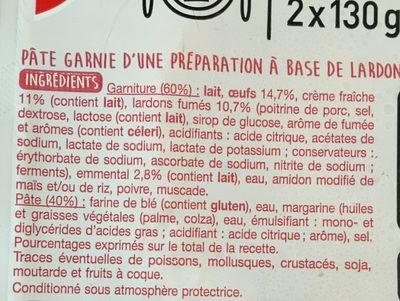 2 quiches Lorraine à la crème fraîche lardons et emmental - Ingredients