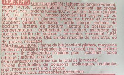2 quiches Lorraine à la crème fraîche lardons et emmental - Nutrition facts