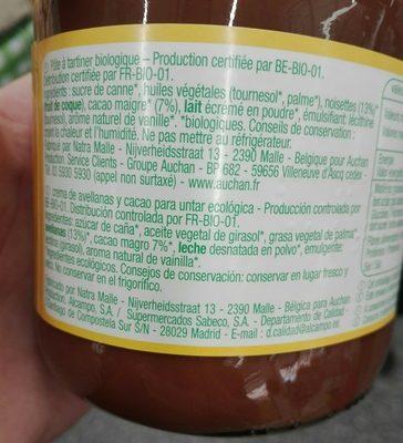 Pâte à tartiner bio - Ingredients - fr