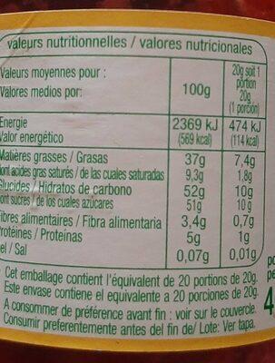Pâte à tartiner bio - Informació nutricional - fr