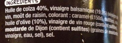 Sauce Vinaigrette à l'Huile d'Olive et au Vinaigre Balsaique - Ingrédients