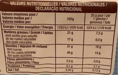 Genoise goût cacao et lait - Nutrition facts