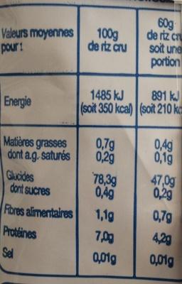 Riz Arborio pour Risotto - Informations nutritionnelles