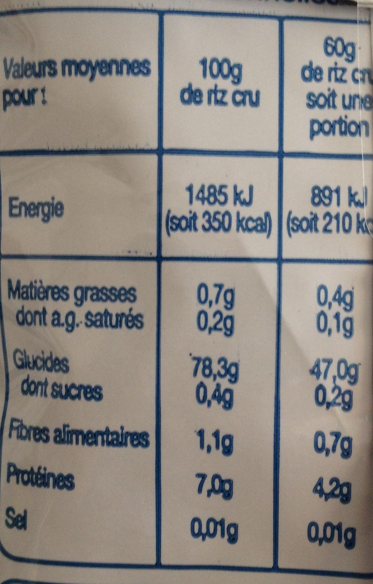 Riz Arborio pour Risotto - Informations nutritionnelles - fr