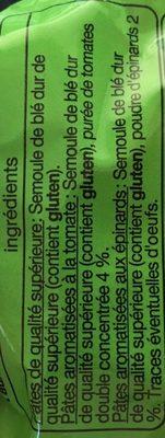 Farfalles tricolores - Pâtes aromatisées à la Tomate et aux Epinards - Ingredients