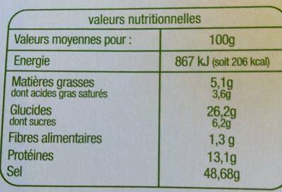 Bouillon de Légumes - Informations nutritionnelles - fr