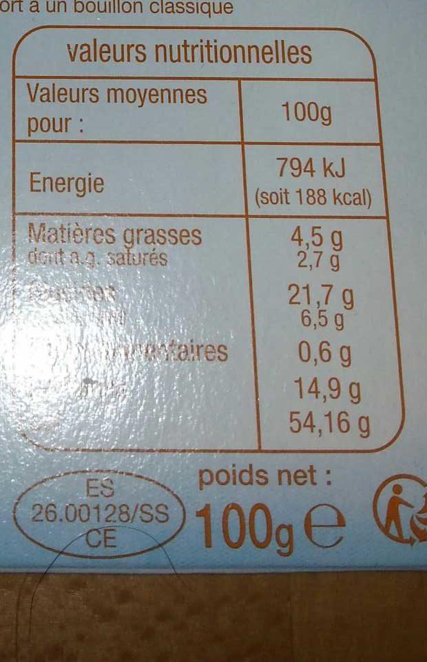 Bouillon de Volaille - Nutrition facts - fr