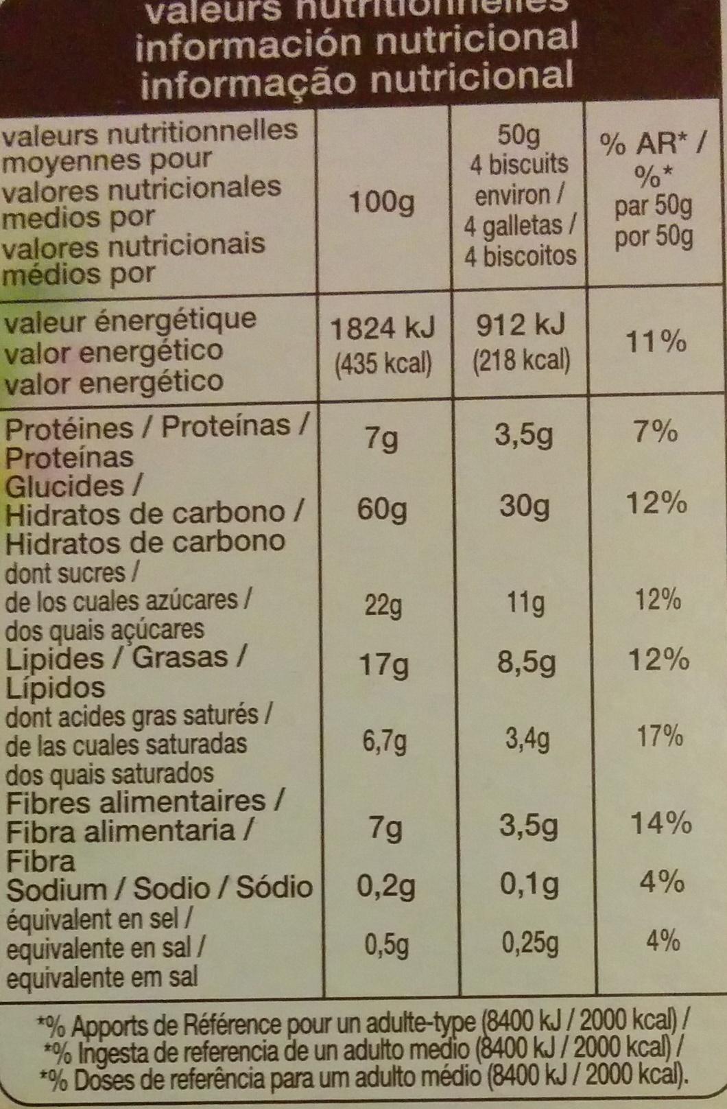Biscuits petit déjeuner céréales fruits rouge - Informations nutritionnelles - fr