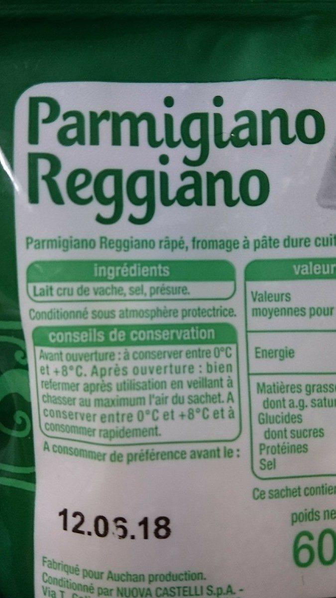 Parmigiano Reggiano rapé - Ingrédients - fr
