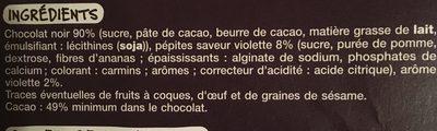 Chocolat noir eclats de violette - Ingredients