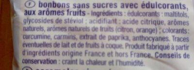 Mini bonbons Au fruits, aux aromes naturels. Sans sucres. - Ingredients