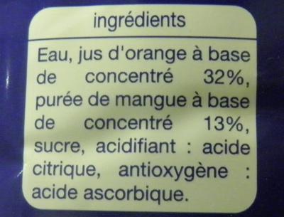 Nectar Orange-Mangue Auchan - Ingrediënten