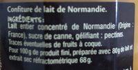 Confiture de Lait - Ingrédients - fr