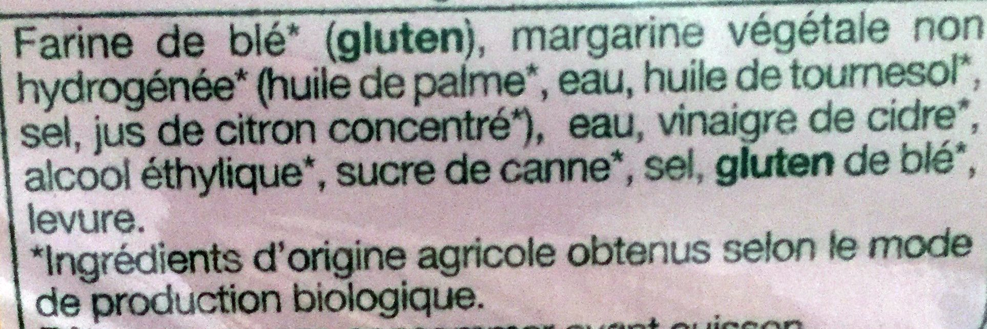 Pâte Brisée - Ingrédients - fr