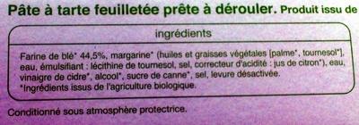 Pâte feuilletée Bio - Ingrediënten - fr