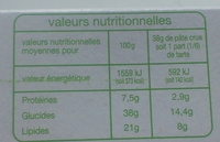 Pâte feuilletée Bio - Voedingswaarden - fr