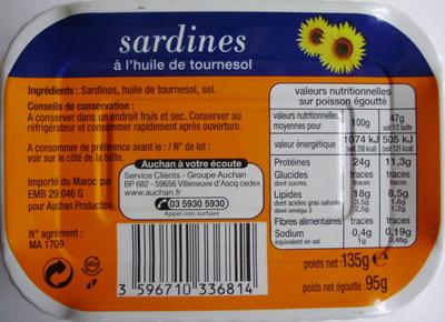 Sardines à l'huile de tournesol - Ingredients - fr