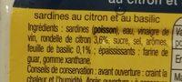Sardines au citron et au basilic sans huile - Ingredients - fr