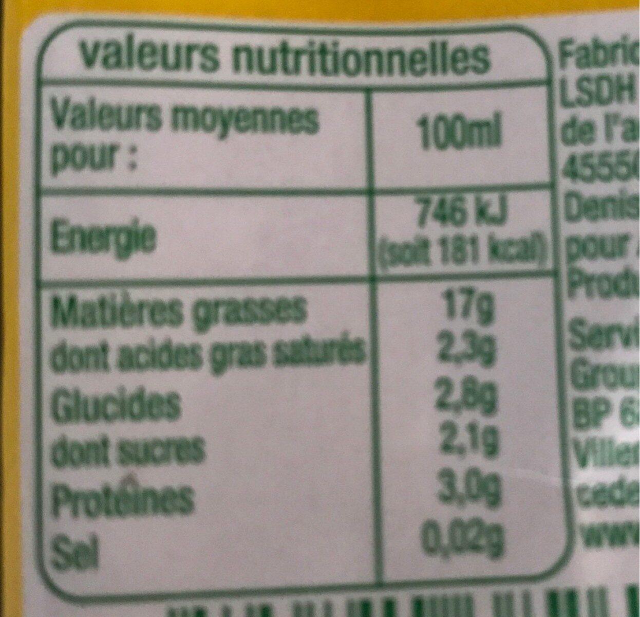 Soja Spécial Cuisine Issu de l'Agriculture Biologique - Nutrition facts - fr