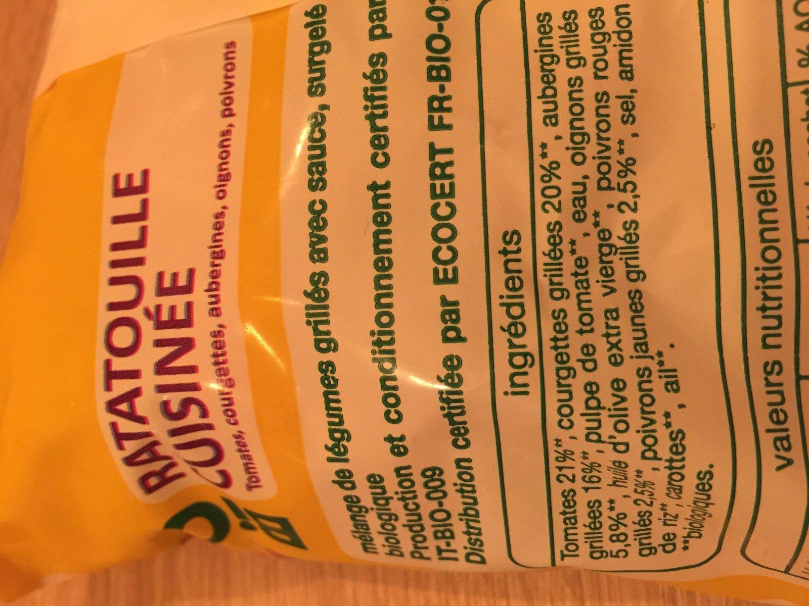 Ratatouille cuisinée surgelée - Ingrédients - fr