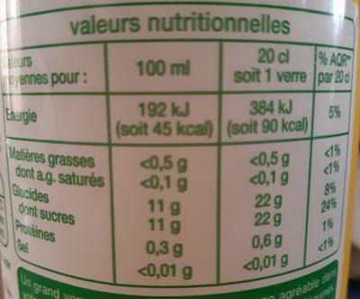 Pomme, Fruits pressés 100% pur jus - Informations nutritionnelles