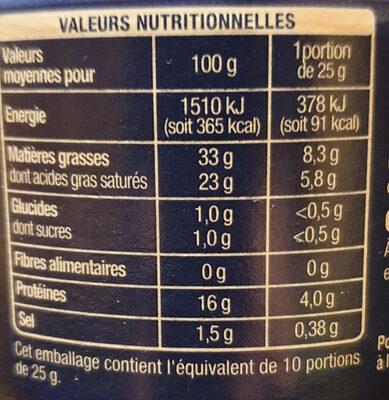Le Bleu (34 % MG) - Informations nutritionnelles - fr