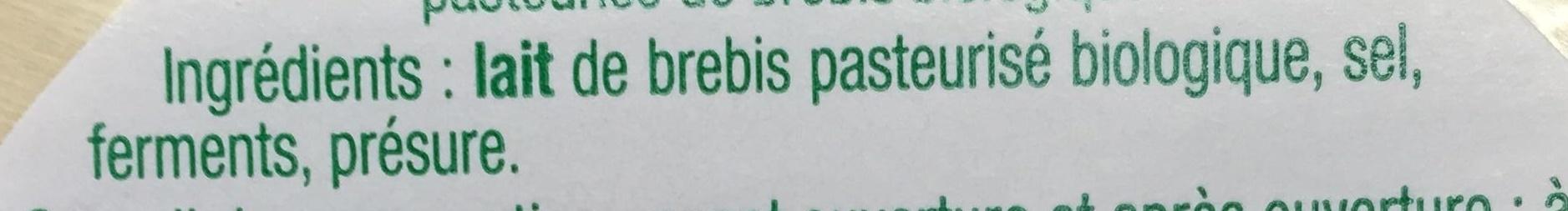Pérail de Brebis (22 % MG) - Ingredients
