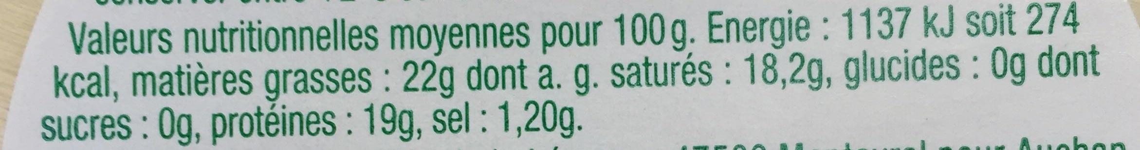 Pérail de Brebis (22 % MG) - Nutrition facts