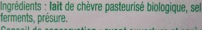 Bûche de chèvre bio auchan - Ingrédients