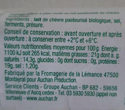 Mieux Vivre Bio buche de chevre - Informations nutritionnelles - fr