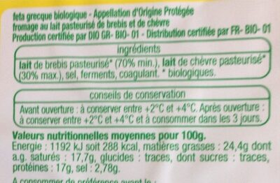 Feta - Informations nutritionnelles - fr