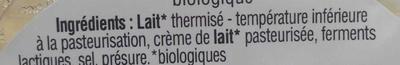 Saint-Félicien Biologique - Ingrédients - fr
