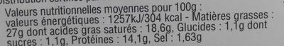 Saint-Félicien Biologique - Informations nutritionnelles - fr