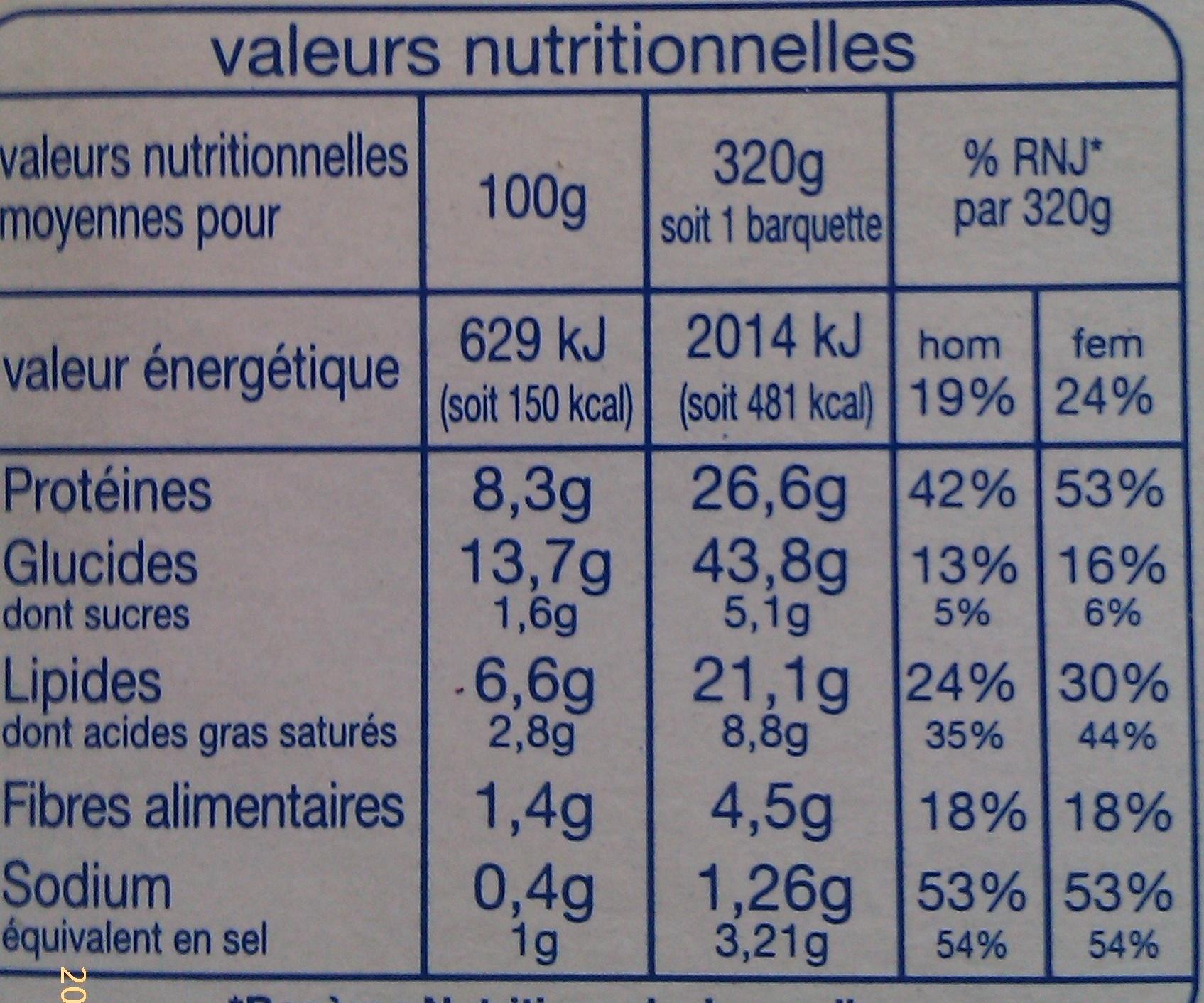 Lasagne Saumon - Nutrition facts - fr