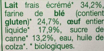 Crêpes de Froment Sucrées Bio - Ingrédients