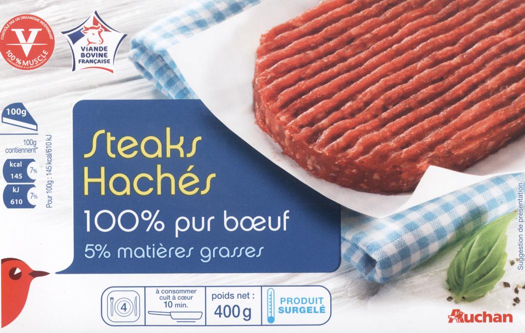 Steaks hachés 100% pur boeuf 5% matières grasses - Produit