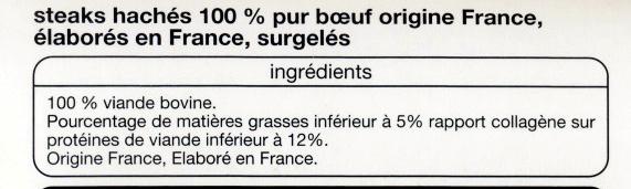 Steaks hachés 100% pur boeuf 5% matières grasses - Ingrédients