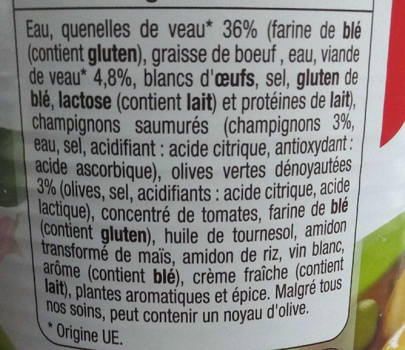 Quenelles de veau sauce financière - Ingredients - fr