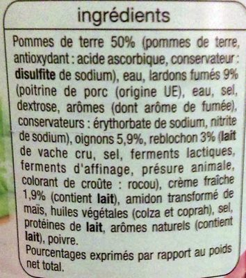 Tartiflette - Ingredients