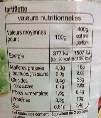 Tartiflette - Nutrition facts