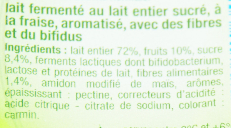 Lait fermenté au bifidus avec des morceaux de fruits - Fraise (4 Pots) - Ingrédients - fr