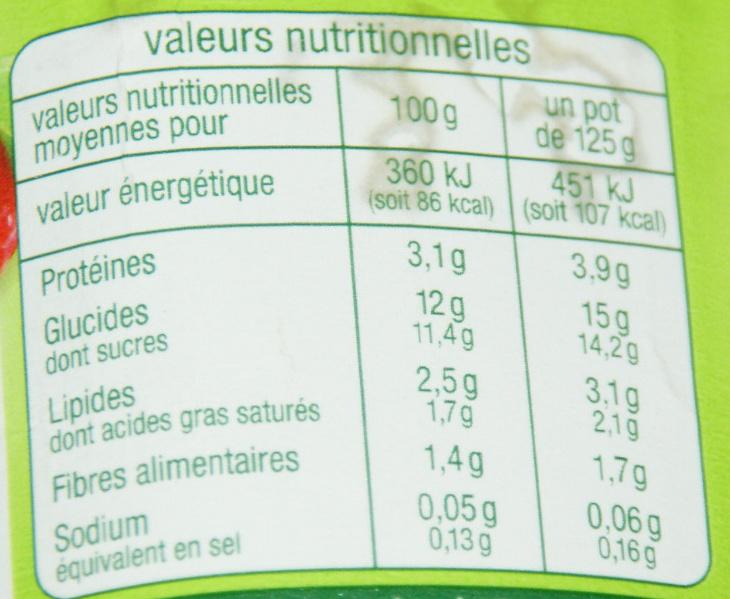 Lait fermenté au bifidus avec des morceaux de fruits - Fraise (4 Pots) - Informations nutritionnelles - fr