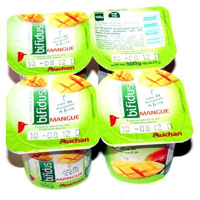 Lait fermenté au Bifidus, aromatisé à la mangue avec des mordeaux de fruits - Produit - fr