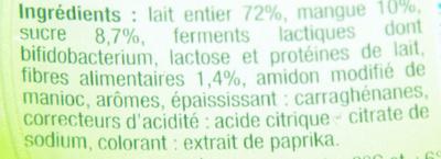 Lait fermenté au Bifidus, aromatisé à la mangue avec des mordeaux de fruits - Ingrédients - fr